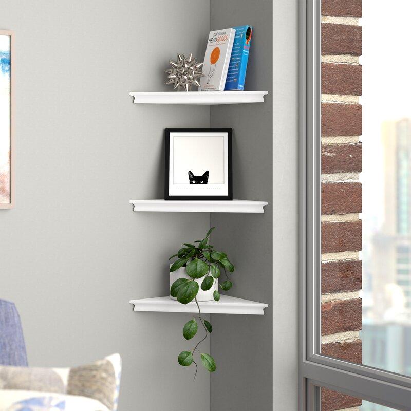 Brayden Studio Lebanon Triangle Corner Wall Shelf Set Reviews