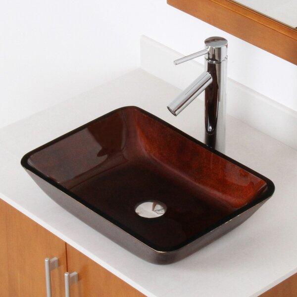 Hand Painted Glass Rectangular Vessel Bathroom Sink by Elite