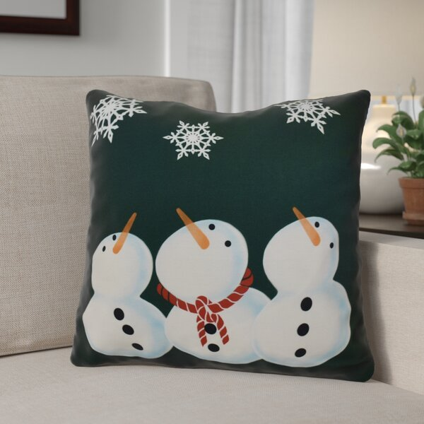 Decorative Snowman Print Outdoor Throw Pillow by The Holiday Aisle