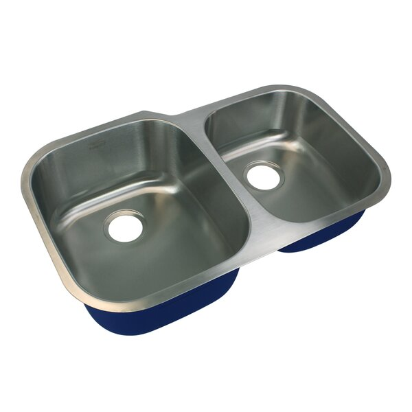 Meridian 32 L x 21 W Double Basin Undermount Kitchen Sink by Transolid
