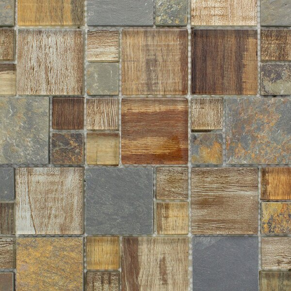 Square Wood Looking Random Sized Mixed Material Mosaic Tile in Brown by Multile