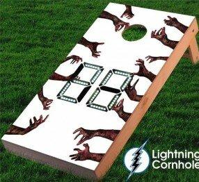 Electronic Scoring Zombie Hands Cornhole Board by Lightning Cornhole