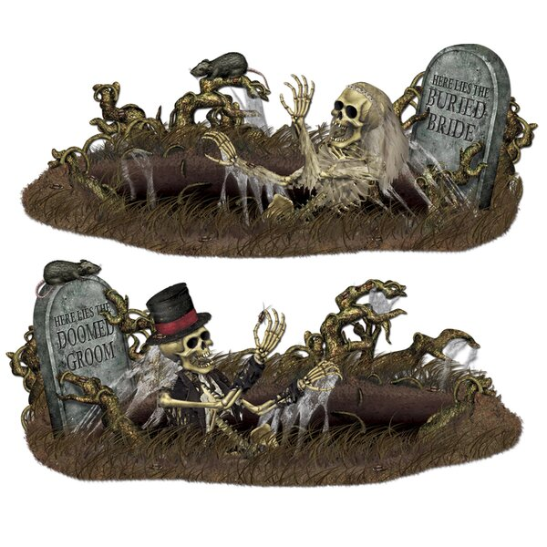 2 Piece Halloween Doomed Groom and Buried Bride Prop Set by The Holiday Aisle