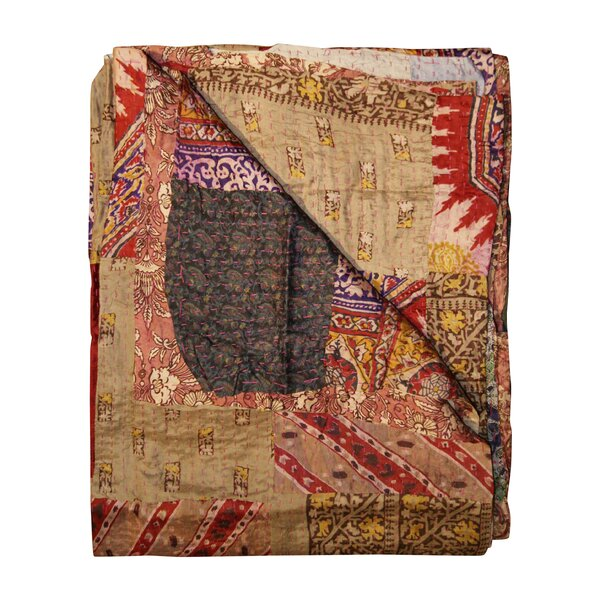 Arguelles Patchwork Kantha Embroidery Silk Throw by Bloomsbury Market