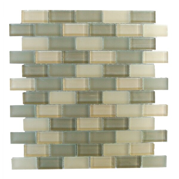 Free Flow 1 x 2 Glass Mosaic Tile in Glazed Green/Beige by Abolos