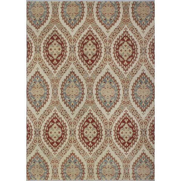 Longoria Chobi Knotted Wool Ivory Area Rug by Canora Grey