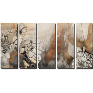 'Painted Petals X' by Ready2HangArt™ 5 Piece Painting Print on Canvas Set by Ready2hangart