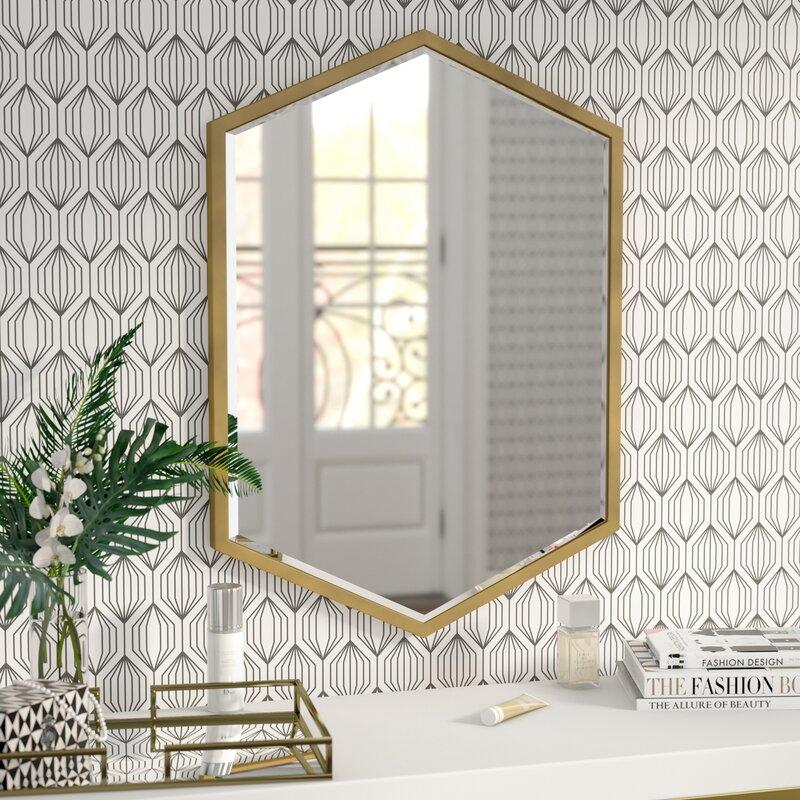 Wall mirrors Metal Wayfair Willa Arlo Interiors Cherine Hexagon Wall Mirror Reviews Wayfair