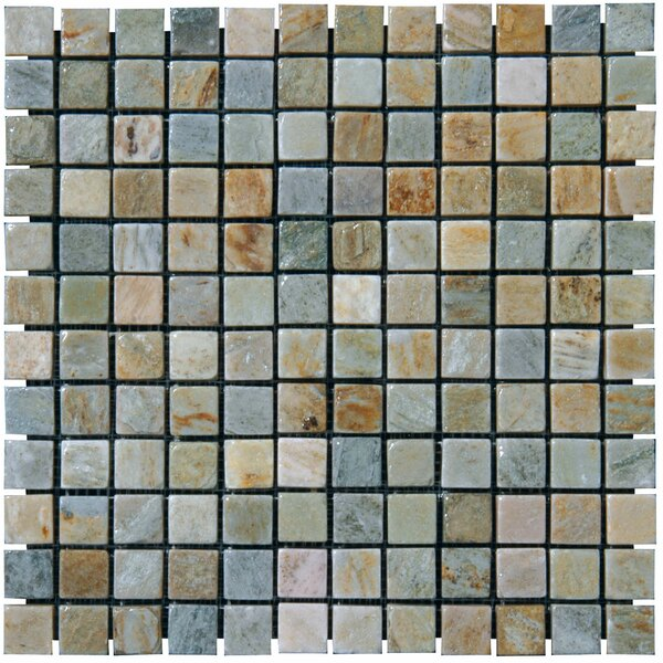 1 x 1 Slate Mosaic Tile in Golden White by MSI