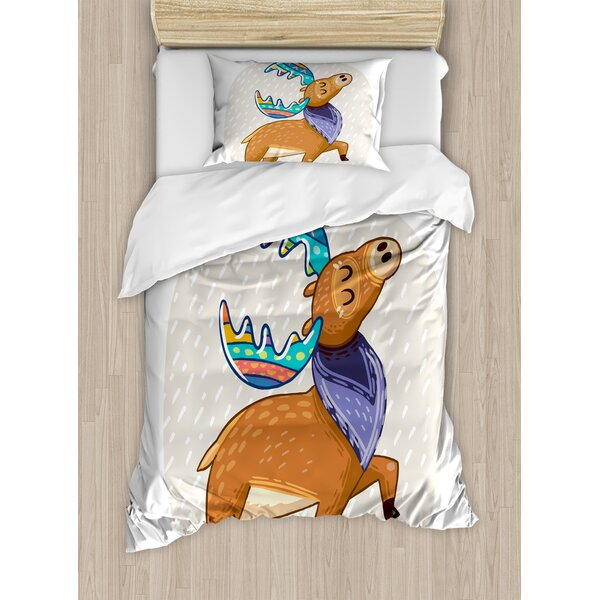 Moose Deer with Scarf and Rainbow Retro Antler Duvet Set by Ambesonne
