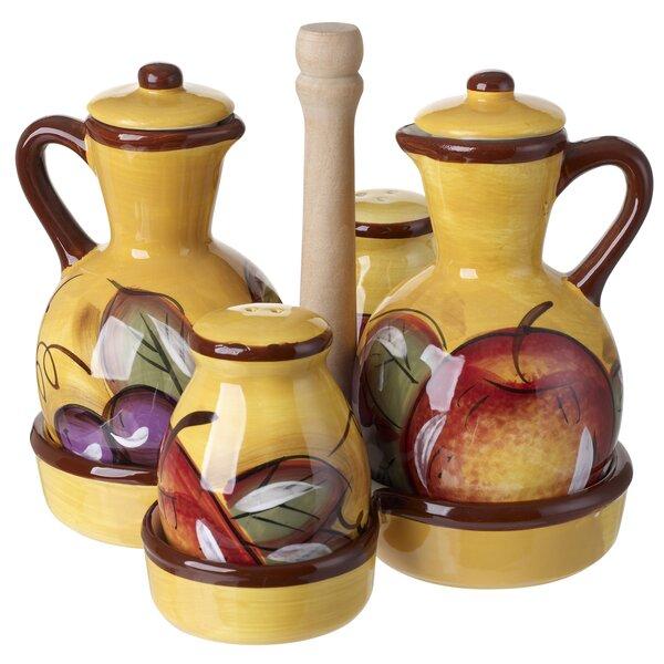Ceramic Oil and Vinegar Bottle Condiment Set with Caddy by Fleur De Lis Living