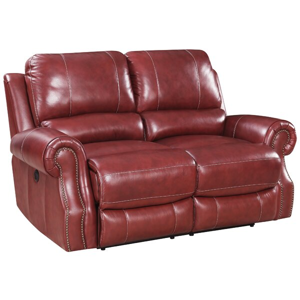 Crete Power Motion Leather Reclining Loveseat by Red Barrel Studio