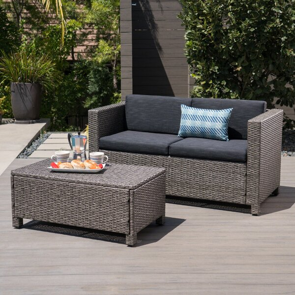 Furst Outdoor Rattan Loveseat and Table Set with Cushions by Wade Logan