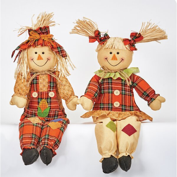 2 Piece Sitting Scarecrow Figurine Set by The Holiday Aisle
