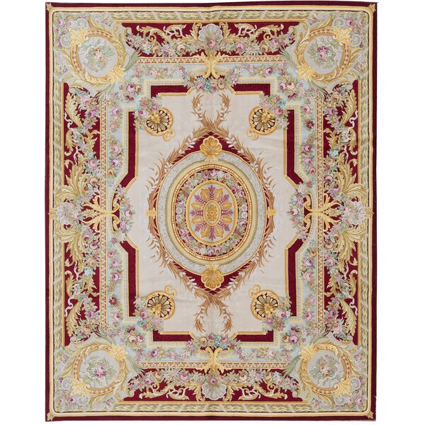 One-of-a-Kind Renaissance Hand-Knotted Red/White/Orange 8'1 x 10'1 Wool Area Rug