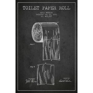 Toilet Paper Charcoal Patent Blueprint Graphic Art on Wrapped Canvas by Trent Austin Design