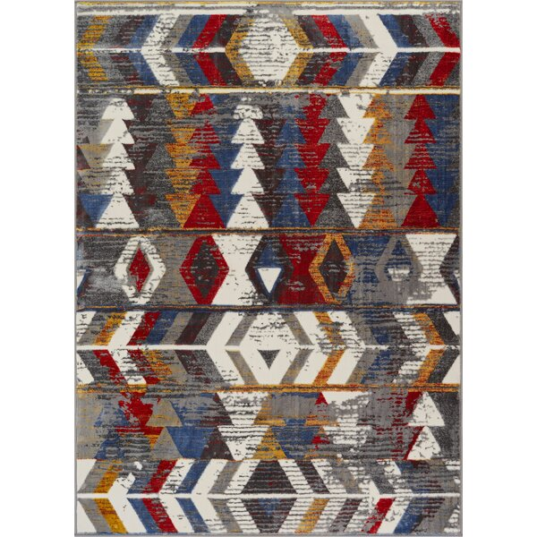 Troxler Traditions Chevron Red/Gray Area Rug by Union Rustic
