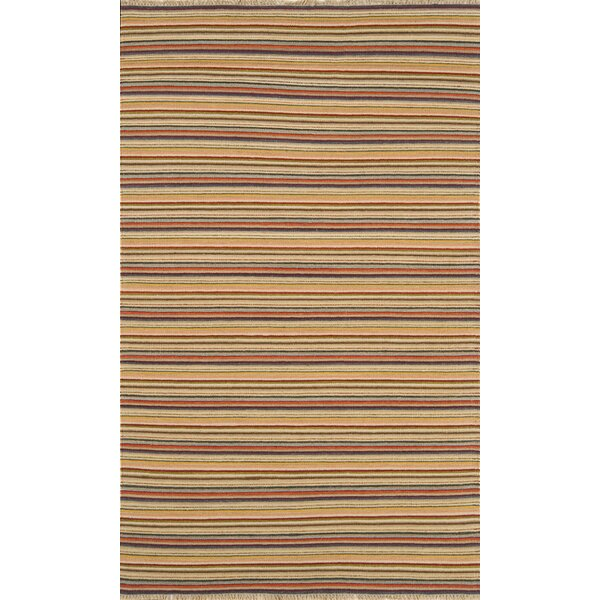 Hand-Knotted Flatweave Wool Brown Area Rug by Continental Rug Company