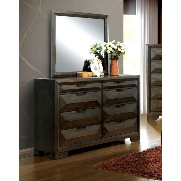 Bender 8 Drawer Double Dresser with Mirror by Union Rustic