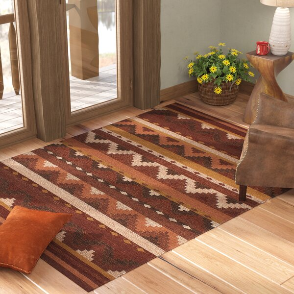 Mowery Handmade Kilim Wool Dark Red Area Rug by Loon Peak