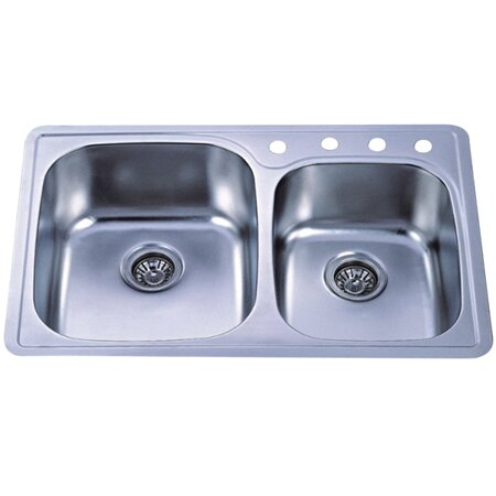Studio 33 L x 22 W Gourmetier Self-Rimming Double Bowl Kitchen Sink by Kingston Brass