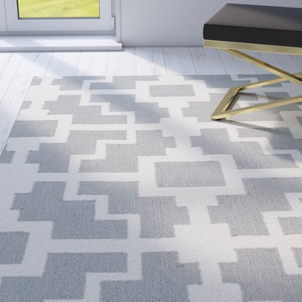 Regent Hand-hooked Gray/Ivory Area Rug by Mercer41