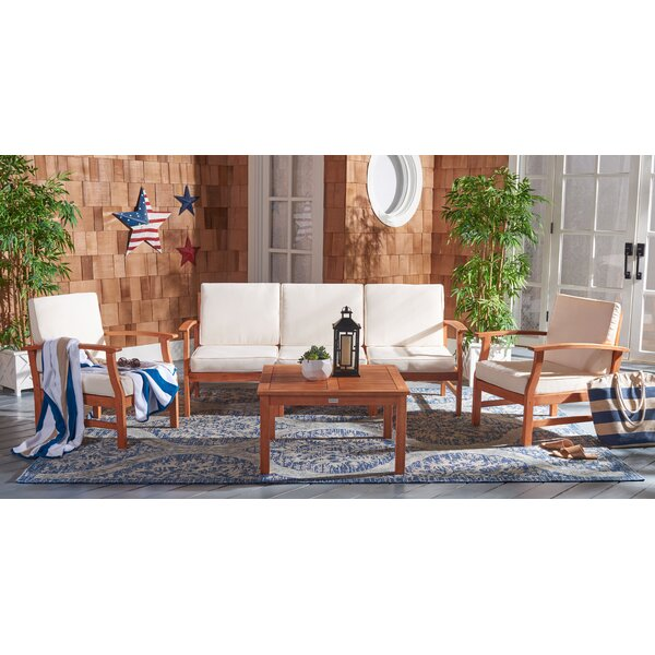 Lauver 4 Piece Seating Group with Cushions by Highland Dunes