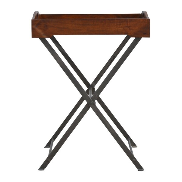 Bowie Cross Iron Base Tray Table by Fleur De Lis Living