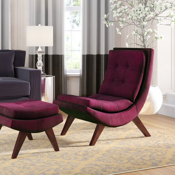 Jaco Velvet Lounge Chair and Ottoman by Willa Arlo Interiors