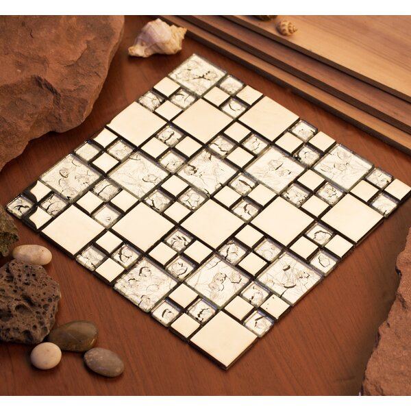 Rousha 12 x 12 Glass Mosaic Tile in Silver by Mirrella