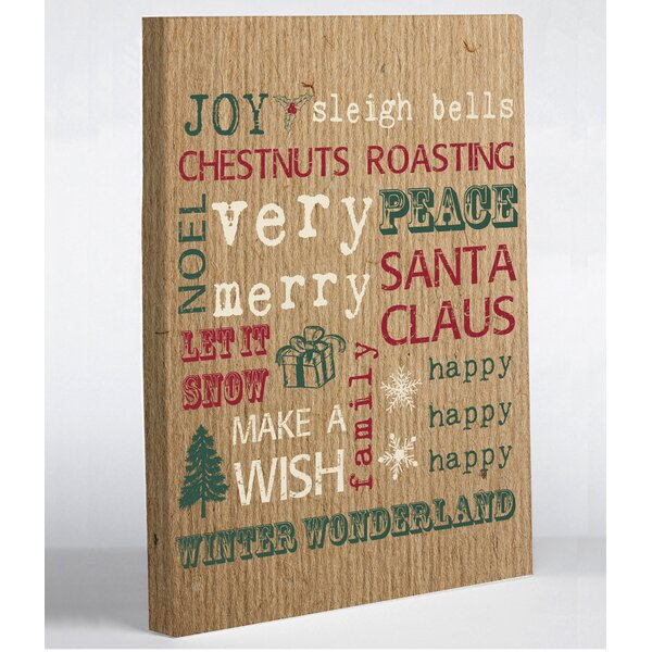 Christmas Words Paper Graphic Art on Wrapped Canvas by One Bella Casa
