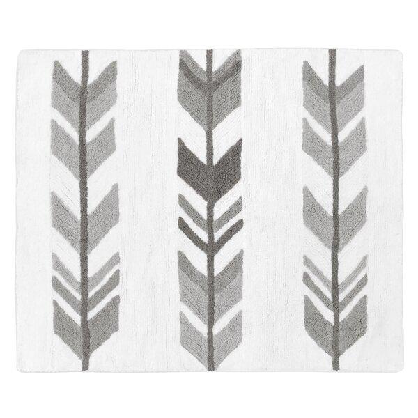 Mod Arrow Cotton White/Gray Area Rug by Sweet Jojo Designs