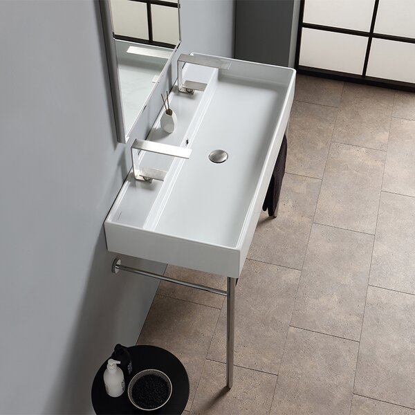 Teorema Ceramic 40 Console Bathroom Sink with Overflow by Scarabeo by Nameeks