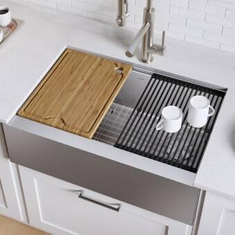Kbp Home Stainless Steel Handmade Farmhouse Kitchen Sink Drop In Double Bowl 33x20x10 Wayfair