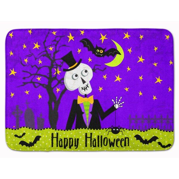 Happy Halloween Skeleton Memory Foam Bath Rug by The Holiday Aisle
