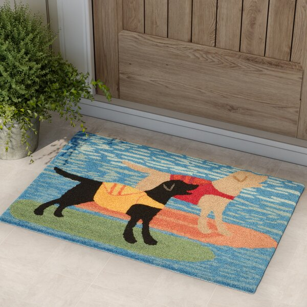 Birchview Surfboard Dogs Door Mat by Red Barrel St
