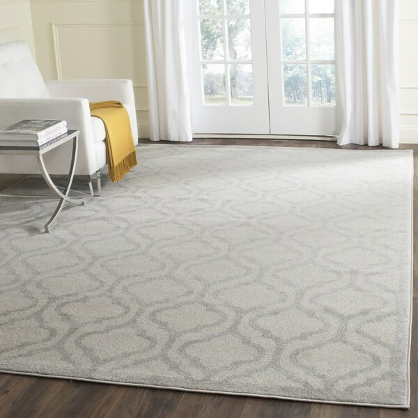 Carman Power Loomed Ivory/Light Gray Indoor/Outdoor Area Rug by Charlton Home