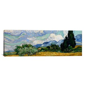 'Wheatfield with Cypresses 1889' by Vincent Van Gogh Painting Print on Wrapped Canvas by Andover Mills