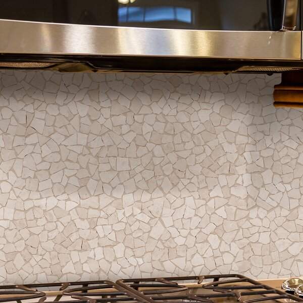 Fit Random Sized Natural Stone Pebble Tile in White by Pebble Tile