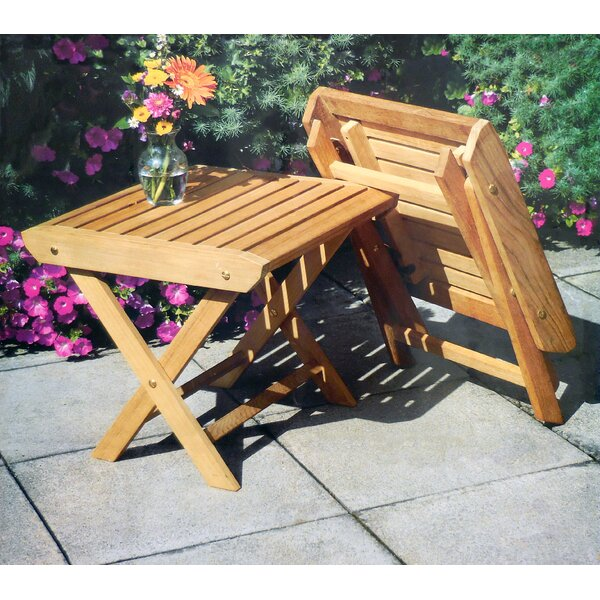 Dozier Folding Teak Side Table by Highland Dunes