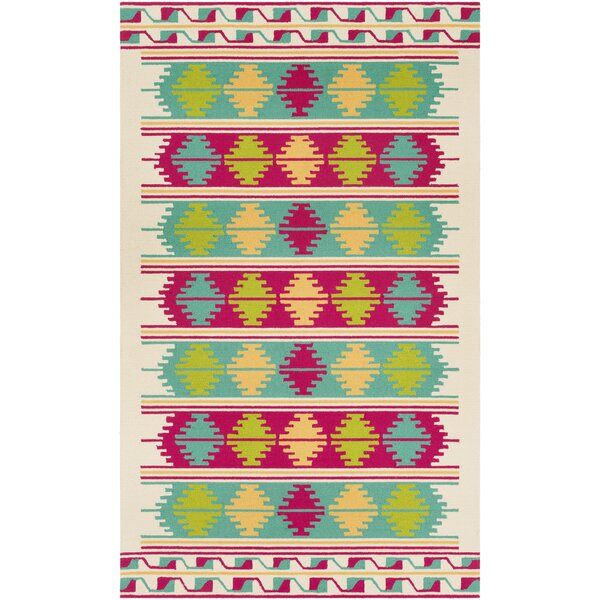 Pelchat Hand-Hooked Cyan/Pink Indoor /Outdoor Area Rug by Bungalow Rose