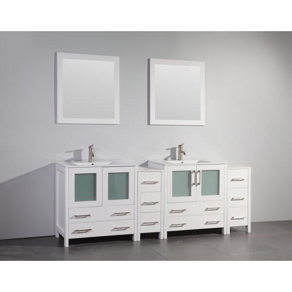 Karson 84 Double Bathroom Vanity Set with Mirror by Wade Logan