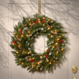 Brown Green Red Pre Lit Wreath