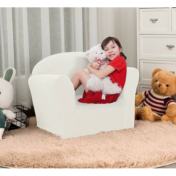 Soft Stretch Children Kids Box Cushion Armchair Slipcover By Harriet Bee