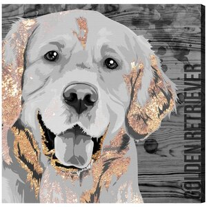 'Love Golden Retriever' Graphic Art on Wrapped Canvas by Brayden Studio