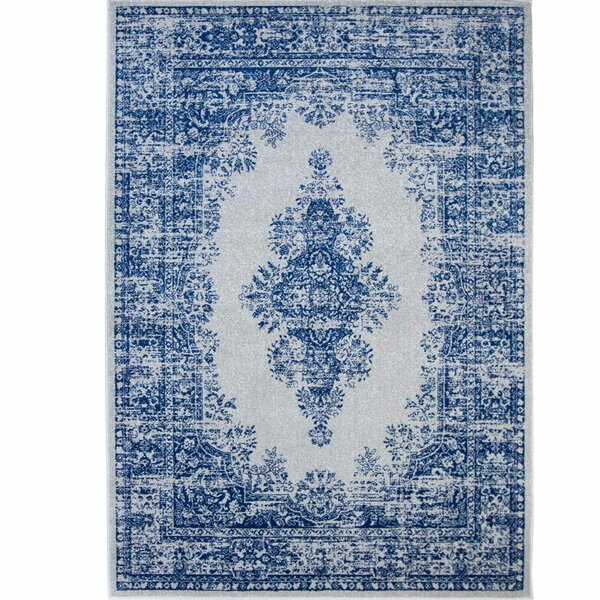 Emet Medallion Gray/Blue Area Rug by The Twillery Co.
