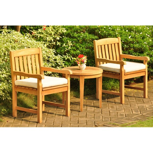 SantaFe 3 Piece Teak Seating Group by Rosecliff Heights