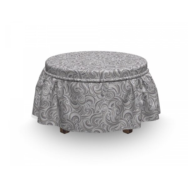Abstract Curly Waves Ornament Ottoman Slipcover (Set Of 2) By East Urban Home