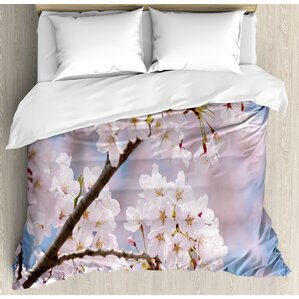 spring floral tree branches cherry blossom petals buds flourishing nature landscape duvet set