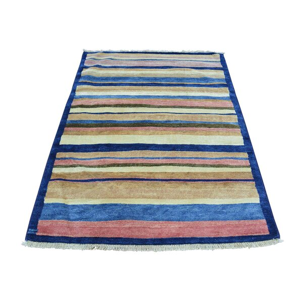 One-of-a-Kind Ferriera Striped Peshawar Oriental Hand-Knotted Red/Blue Area Rug by Latitude Run